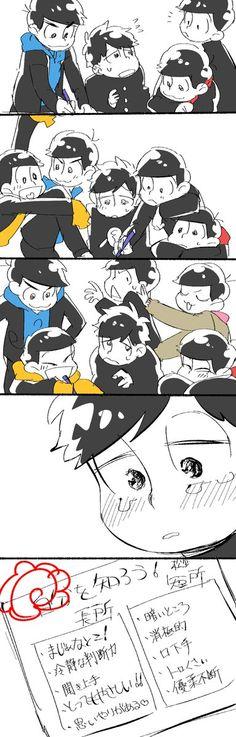Osomatsu, Karamatsu, Choromatsu, Itchimatsu, Jyushimatsu, Todomatsu