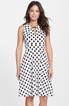 Donna Ricco Polka Dot Fit & Flare Dress (Regular & Petite) available at #Nordstrom