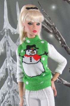 EMERALD SNOWMAN Sweater for Poppy Parker by GwendolynsTreasures