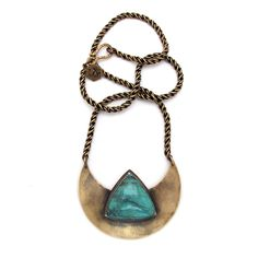 Crescent Shield Necklace with Turquoise //Laurel Hill Jewelry