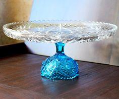 """14"""" Aqua Blue Cake Stand / Glass Cake Stand / Wedding Cake Stand Wedding Cake Pedestal / Glass Cake Plate Pedestal / Cupcake Stand. $70.00, via Etsy."""