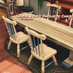 "Recolours of the shabby wooden chair and bar stool from Cats & Dogs, with 65 matching swatches.  ""UNCLE FLY'S FAVOURITE BAR STOOL [Cats & Dogs; SimFileShare]  COUSIN JEBB'S FAVOURITE CHAIR [Cats & Dogs; SimFileShare]  ""  TOU: share and share alike."
