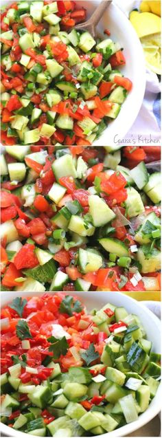 A light, vibrant, easy to throw together Mediterranean Cucumber Tomato Salad perfect alongside any savory meal all Summer long! #salad #healthy #vegan #recipe #summer