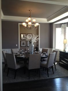 Simple and Elegant Dining Room in gray with round dining table. #Home #Interior