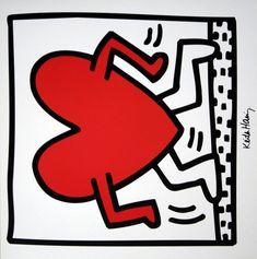 Keith HARING : Sans Titre 1984 (Coeur) : Reproduction en Affiche d'art, luxueux poster de dimensions 30 x 30 cm