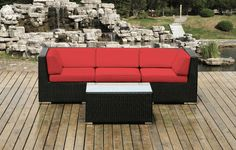Ohana Wicker Furniture - 4 Piece Couch Set in Red
