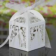 Handmade Laser Cut Bridegroom Candy Boxes with Ribbons Wedding Favor Candy Gift Candies Sweet Box Wedding Party Accessory Wedding Favors And Gifts, Wedding Candy Boxes, Wedding Paper, Wedding Cards, Party Wedding, Wedding Decor, Rustic Wedding, Sweet Box, Laser Cut Wedding Invitations