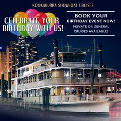 Celebrate your birthday party, anniversary, hens night, baby shower or engagement with us. Book a cruise on a stunning Birthday Party Venue Brisbane now! Food Posters, Brisbane River, Cruise Offers, Upcoming Events, High Tea, Small Groups, It's Your Birthday, Special Events, Birthdays