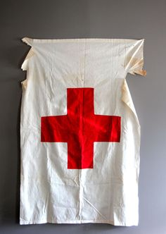 Vintage Distressed Red Cross Flag by Heritage1956