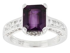3.00ctw Emerald Cut Brazilian Amethyst With 1.35ctw Round White Topaz