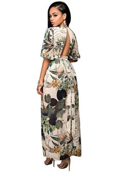 17ab3dd4d24f Multicolor Floral Print V-neck Backless Elbow Sleeve Swallowtail Maxi  Chiffon Romper with Maxi Overlay
