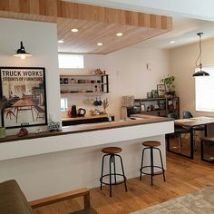 Cheap Home Decorating Websites Open Plan Kitchen Living Room, Kitchen Dinning, Kitchen Decor, Japanese Home Decor, Japanese Kitchen, Cafe Interior Design, Kitchen Interior, Townhouse Interior, Diy Kitchen Storage