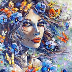 Jeanne Saint Cheron (French, born in Art Visage, Cup Art, Creepy Cute, Butterfly Art, Colorful Paintings, Art Model, French Artists, Face Art, Digital Illustration