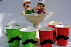 Mario and Luigi cups Super Mario Bros, Super Mario Birthday, Mario Birthday Party, Super Mario Party, 6th Birthday Parties, Boy Birthday, Mario Party Games, Mario Bros., Mario And Luigi