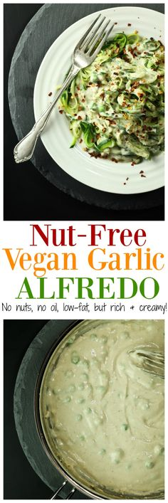 Nut-Free Vegan Garlic Alfredo Sauce FINALLY, a nut-free low-fat oil-free alfredo over ZOODLES! There are no cashews, not a drop of oil or milk or butter, yet so CREAMY and healthy! Just 8 ingredients for this sauce! Vegan Sauces, Vegan Foods, Vegan Dishes, Dairy Free Recipes, Vegetarian Recipes, Healthy Recipes, Vegan Recipes No Nuts, Vegan Zoodle Recipes, Gluten Free Vegan Recipes Dinner