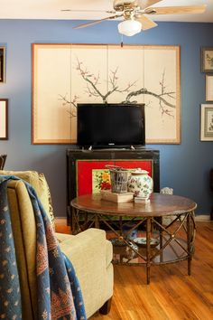 Asian Screen Used As Wall Piece, Coffee Table From Designer Consignment  Furniture