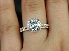 Barra 8mm Size14kt Rose Gold Round FB Moissanite Cushion Halo Diamond Wedding Set (Other metals and stone options available)