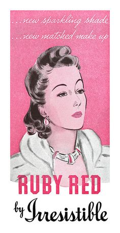 Detail from a 1940 Irresistible Lipstick ad. #vintage #1940s #makeup #beauty