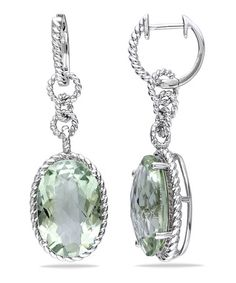 Take a look at this Green Amethyst & Silver Oval Drop Earrings by Sofia B on #zulily today!