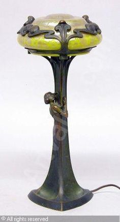 GLASFABRIK JOHANN LOETZ-WITWE,Art Nouveau Figural Bronze and Unsigned.