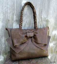 Leather Bow Bag in Rustic Brown Medium Size by by stacyleigh Herringbone Fabric, Bow Bag, Double Braid, Leather Bow, Vintage Lace, Boho Fashion, Messenger Bag, Satchel, Reusable Tote Bags