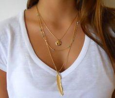 Aliexpress.com: Comprar Nueva joyería del verano moda de múltiples capas collar de grandes plumas lentejuelas redondas colgante del encanto del collar para para N67 de Collares fiable proveedores en YQYQ Jewelry