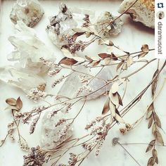 Crystal addiction eye candy  #regram @daramuscat   Soo happy to be with you again and share stuff I like. Like these crystals x flowers x jewelry from my studio. #gutsygirlart #crystals #crystalcollector