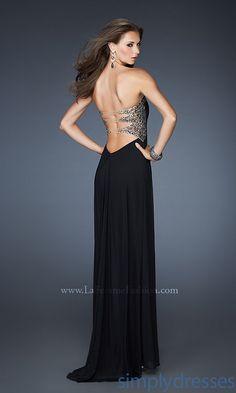 Electric Blue Strapless Open Back Prom Dress by La Femme 19975 ...