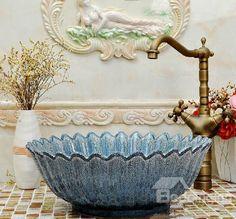 New Arrival Ceramics European Style Petal Patterns  Vessel Sink