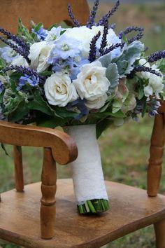 I like the lavender spikes - not the pale blue bits though. Contains white garden roses, white ranunculus, delphinium, fresh lavender, Bridal Bouquet - Splendid Stems Floral Designs Hydrangea Bridal Bouquet, Lavender Bouquet, Bridal Bouquet Fall, Bride Bouquets, Flower Bouquet Wedding, Floral Bouquets, Bridesmaid Bouquet, Lavender Blue, Blue Bridal Bouquets