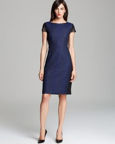 Elie Tahari Lolly Dress Leather cap sleeve, leather neckline binding, topstiched darts as design element