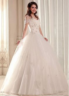 Glamorous Tulle&Satin Ball gown Sweetheart Neckline Dropped Waistline Wedding Dress
