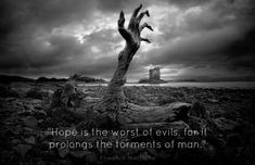 """hope is the worst of all evils   Hope is the worst of evils..."""" - Friedrich Nietzsche - Live by quotes"""