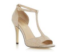 HEAD OVER HEELS LADIES MADEA - Glitter Lurex T-bar Heeled Sandal - gold | Dune Shoes Online