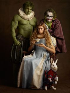 'family portraits' of 17th century-styled super heroes and villains all images courtesy of sacha goldberger