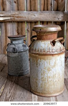 rusted milk cans.  my grandma had a red one