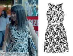 Broad City: Season 2 Episode 10 Abbi's White & Black Cut Out Dress