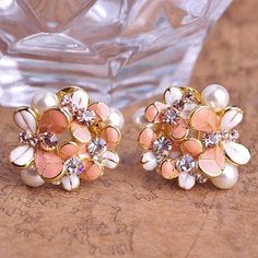 2015 Brand Fashion Max Brincos Enamel Flower Rhodium 18K Gold Plated Big Earrings Esmalte Fine Pearl Jewelry Wedding Accessories
