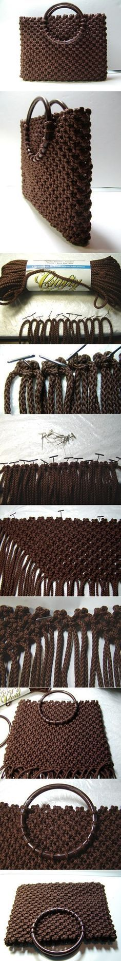 DIY Macrame Cord Tote Bolso-Makramee-Tutorial Related posts: No related posts. Macrame Bag, Macrame Cord, Micro Macrame, Macrame Jewelry, Macrame Projects, Crochet Projects, Tote Tutorial, Tutorial Sewing, Macrame Tutorial