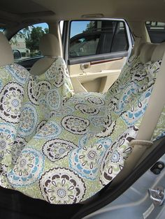 Dog seat cover made from a shower curtain - can be used with seats up or down!