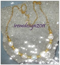 Amazing Handmade Gold Jewelry Set with White Sea Pearls by IreneDesign2011 in my Etsy shop https://www.etsy.com/listing/184430383