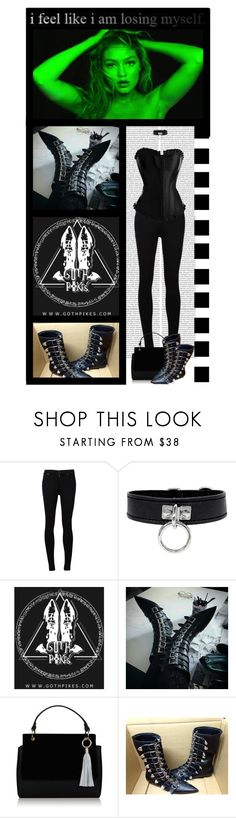 """""""Goth Pikes (39)"""" by irresistible-livingdeadgirl ❤ liked on Polyvore featuring Citizens of Humanity, Topshop, black, emo, Punk, corset and polyvoreeditorial"""
