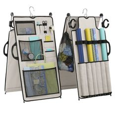 Container Store gift wrap work station for tight spaces - hangs in closet, stands for use, clips to use roll of wrapping paper at table height