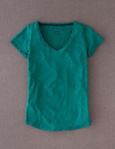 Lightweight v neck in bright emerald