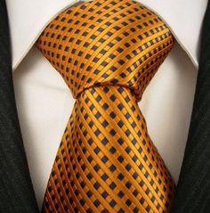 Orange blue tie