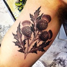 What does thistle tattoo mean? We have thistle tattoo ideas, designs, symbolism and we explain the meaning behind the tattoo. Time Tattoos, Tattoo You, New Tattoos, Body Art Tattoos, Tatoos, Sweet Tattoos, Unique Tattoos, Beautiful Tattoos, Ribbon Tattoos