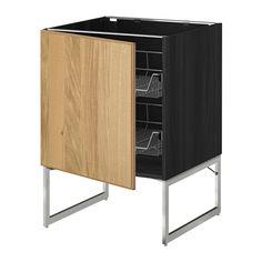 METOD Mobile base con cestelli scorrevoli - effetto legno nero, Hyttan impiallacciatura di rovere, 60x60x60 cm - IKEA