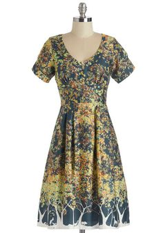 Frolicsome Foliage Dress - Multi, Casual, A-line, Short Sleeves, Fall, Better, Cotton, Woven, Novelty Print, V Neck