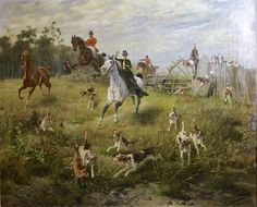 Hans Werner Schmidt - Fox in trouble - Landscape, Oil, Animal, Painting. Hunting Painting, Hunting Art, Fox Hunting, Old Paintings, Paintings I Love, Animal Paintings, Aesthetic Art, Aesthetic Photo, Side Saddle
