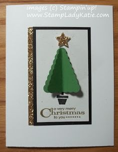 3D Christmas Tree using Stampin'UP!'s Pennant Punch. Easy Card